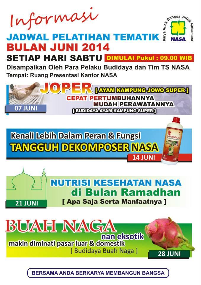 Jadwal Pelatihan Tematik Nasa Juni 2014