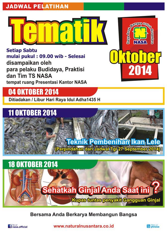 Jadwal Pelatihan Tematik Oktober 2014